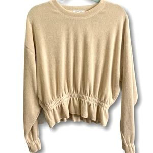 ZARA BASIC Long Sleeve Peplum Style Pullover Sz M